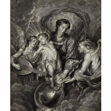 Mary with Christ child & two angels playing music